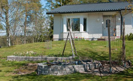 Kevät valkoisen talon puutarhassa
